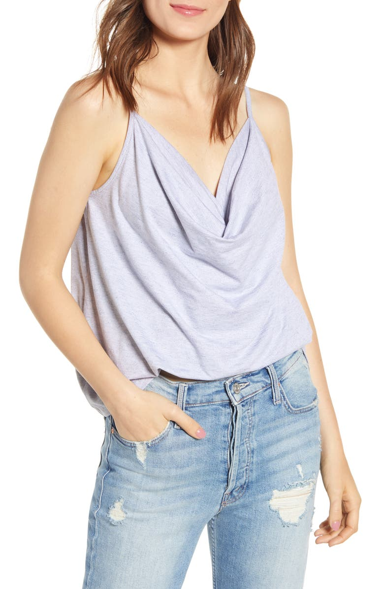 BISHOP + YOUNG Mia Cowl Neck Camisole, Main, color, PERRY BLUE