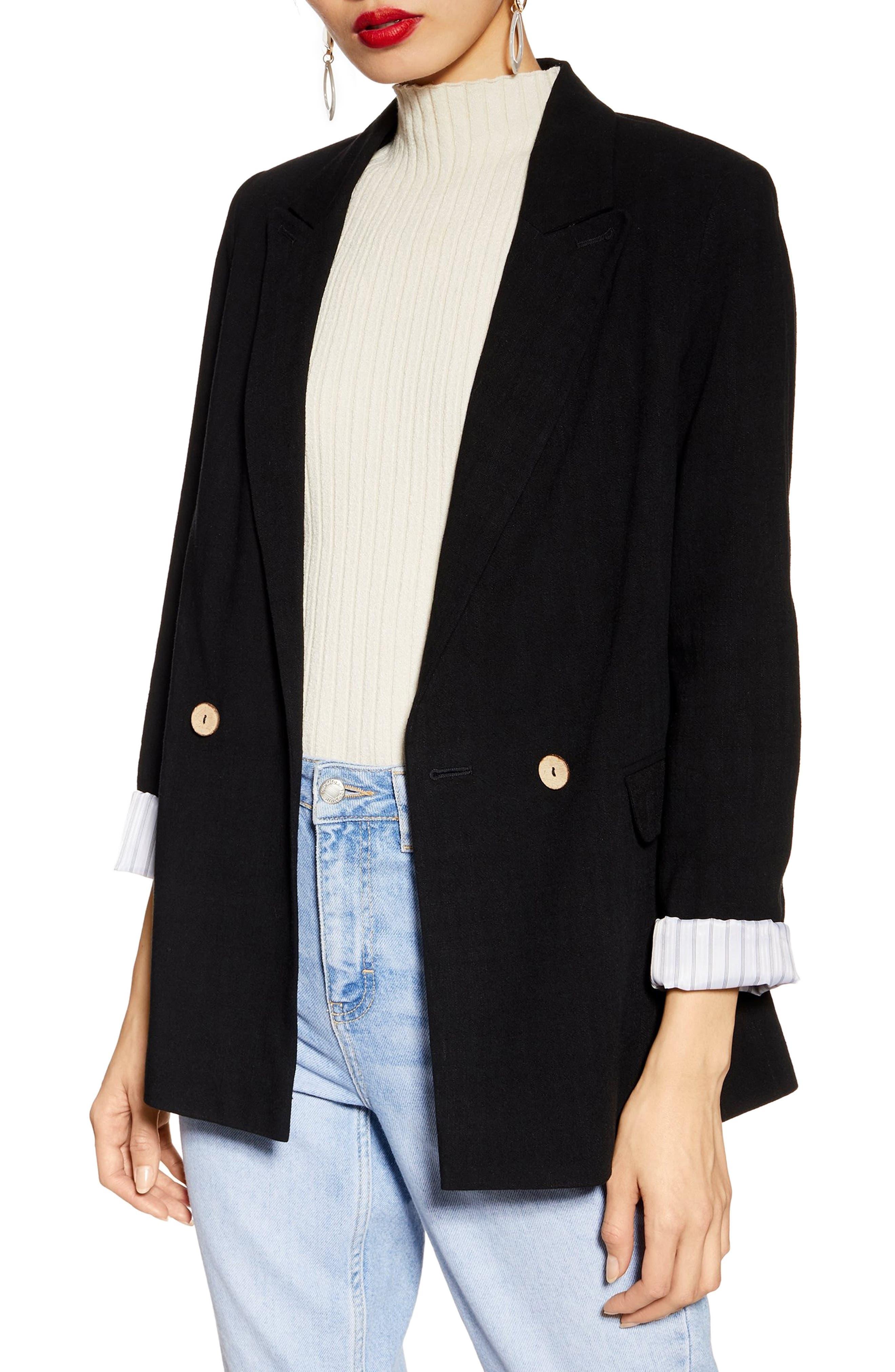 Coco Linen Blazer, Main, color, BLACK