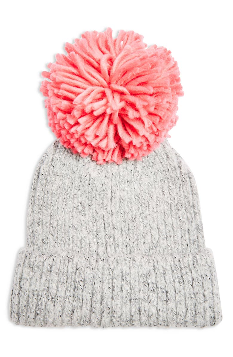 TOPSHOP Big Pom Knit Beanie, Main, color, PINK MULTI