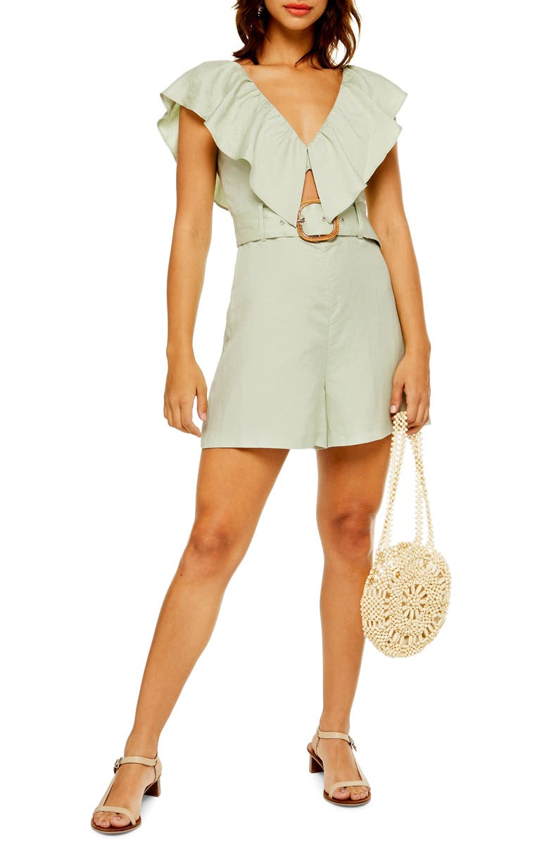 TOPSHOP Riviera Frill Romper, Main, color, MINT