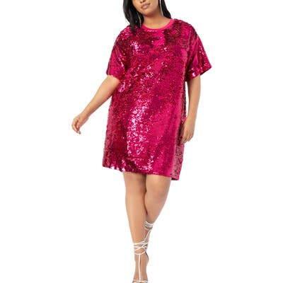 Plus Size Eloquii Sequin Cocktail Dress, Pink