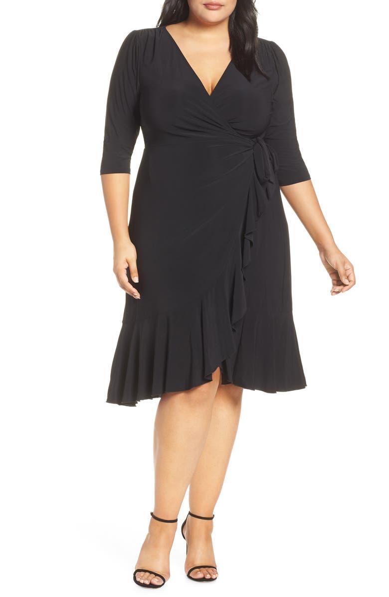 KIYONNA Whimsy Wrap Dress, Main, color, BLACK NOIR