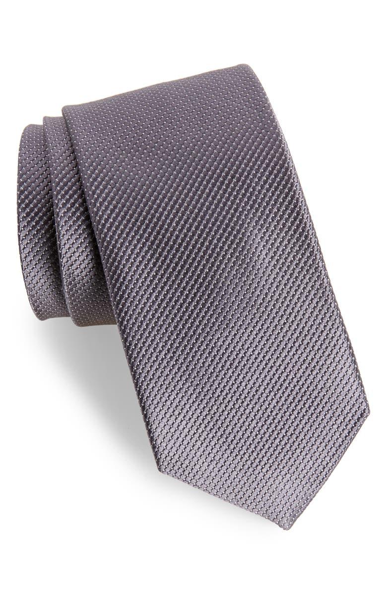 NORDSTROM MEN'S SHOP Vendôme Dot Silk Tie, Main, color, ONYX