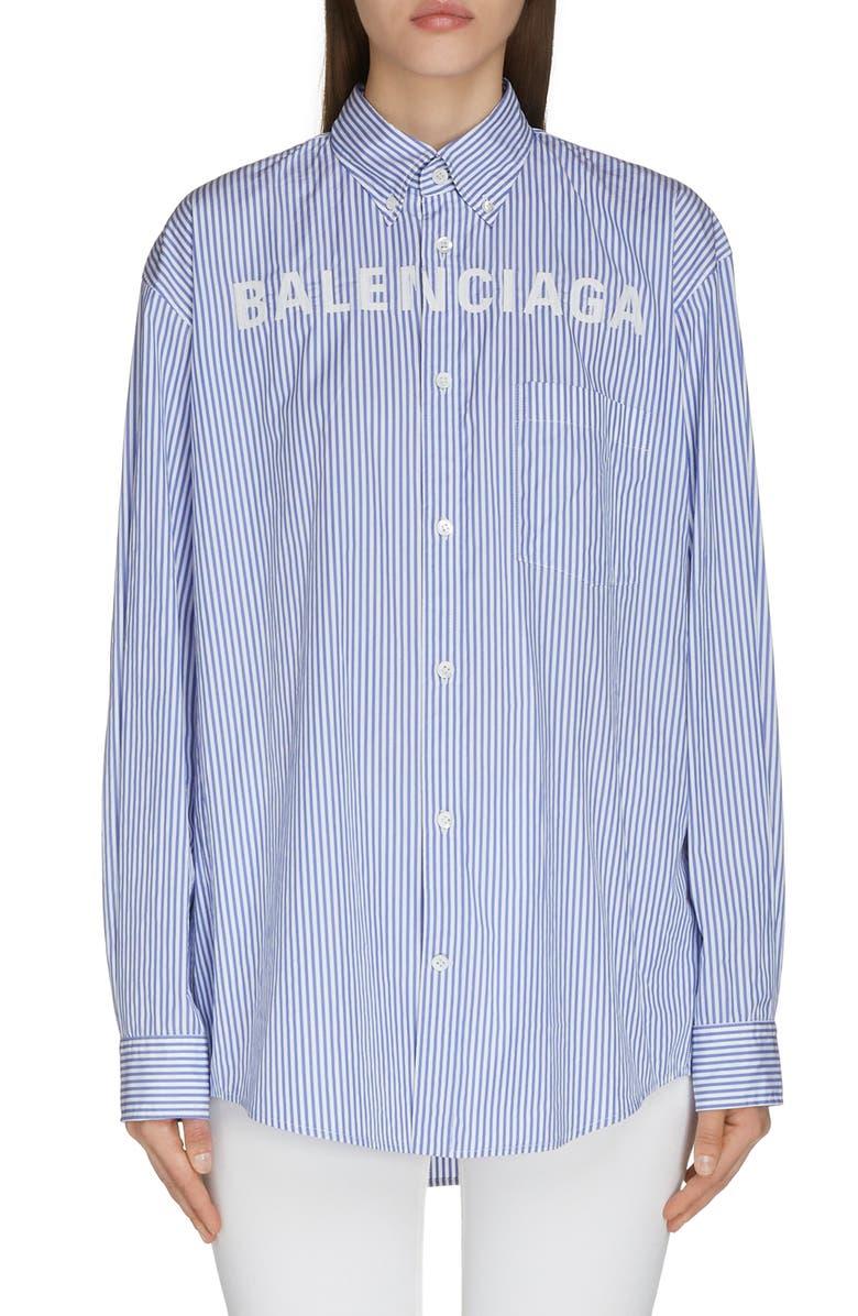 BALENCIAGA Logo Collegiate Stripe Shirt, Main, color, BLUE/ WHITE