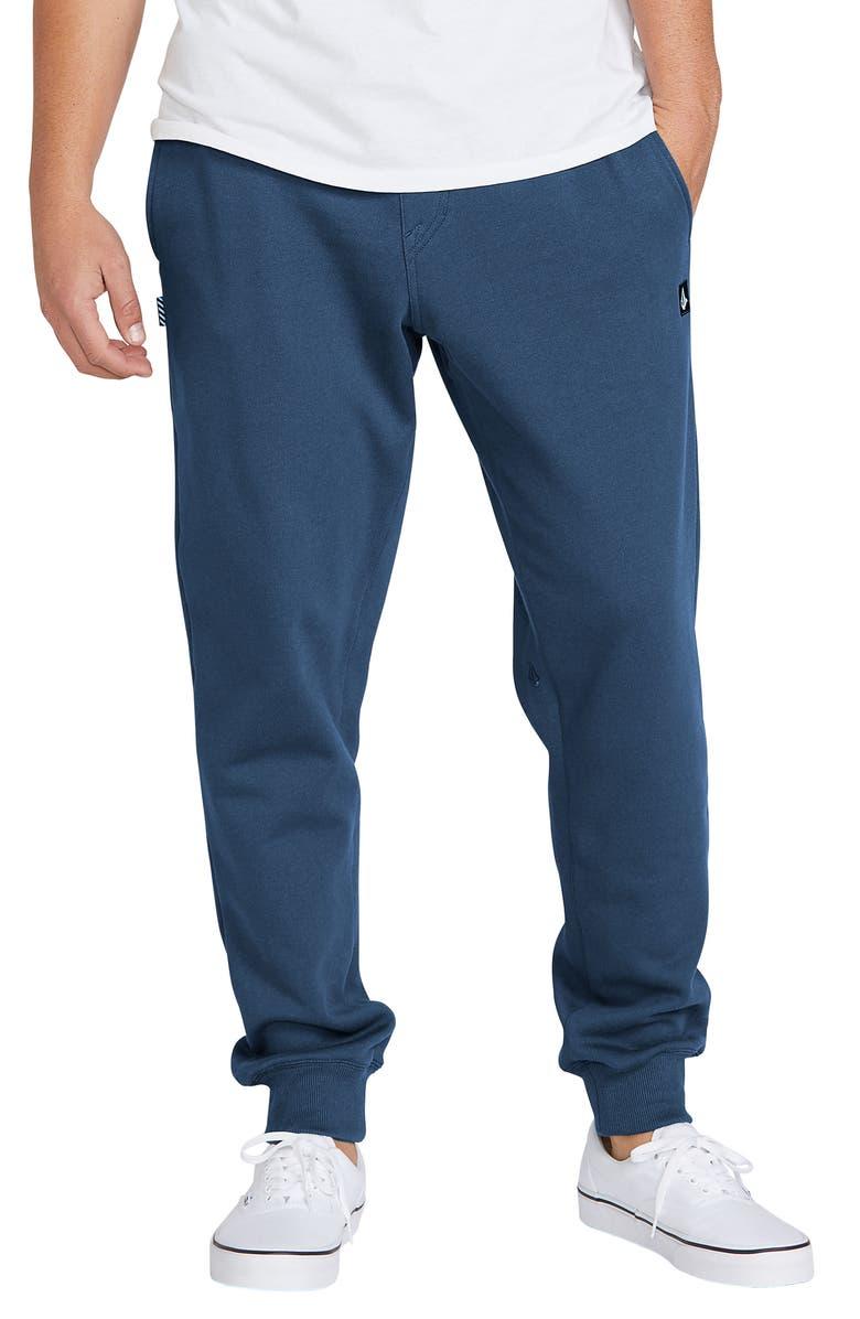 VOLCOM Single Stone Slim Fit Fleece Sweatpants, Main, color, SMOKEY BLUE
