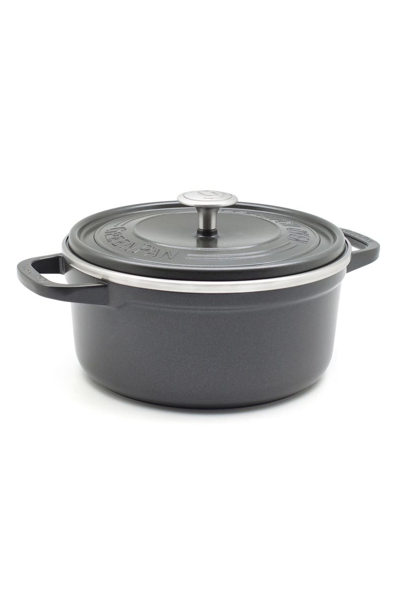 GREENPAN SimmerLite 3.5-Quart Ceramic Nonstick Cast Aluminum Dutch Oven, Main, color, SLATE GREY