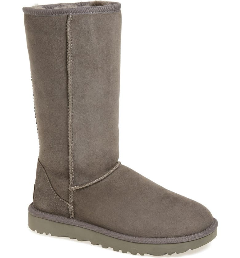 3b0716fcc34471 Classic II Genuine Shearling Lined Tall Boot, Main, color, GREY SUEDE