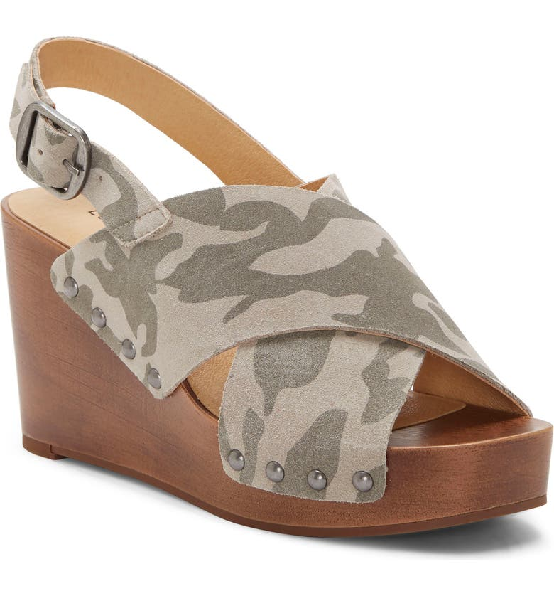 LUCKY BRAND Zalka Slingback Wedge, Main, color, CHINCHILLA SUEDE