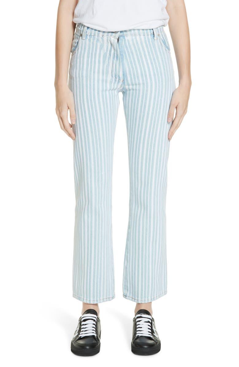 OFF-WHITE Diagonal Stripe Crop Jeans, Main, color, 400