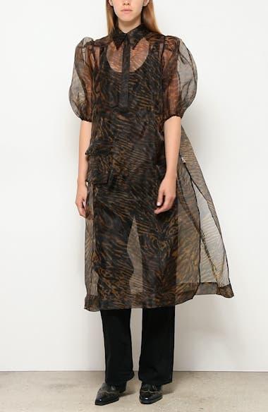 Tiger Stripe Print Sheer Organza Midi Dress, video thumbnail