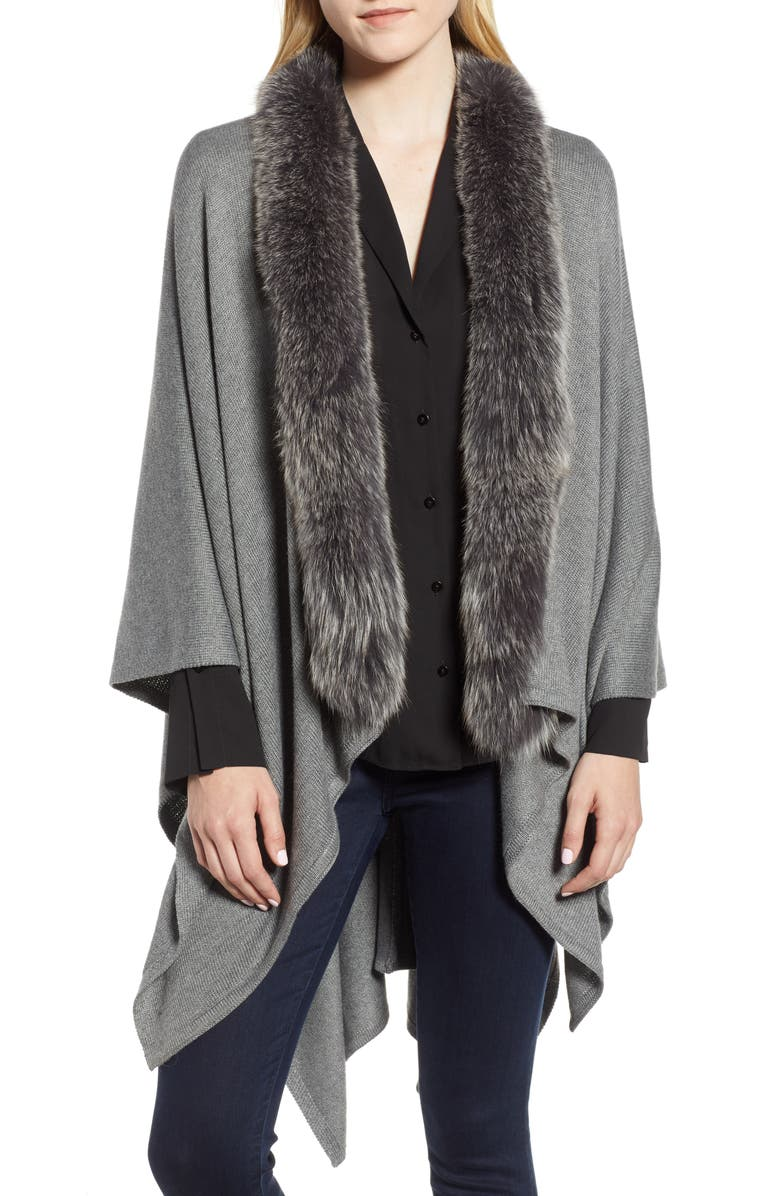 LA FIORENTINA Wool Blend Wrap with Genuine Fox Fur Trim, Main, color, GREY