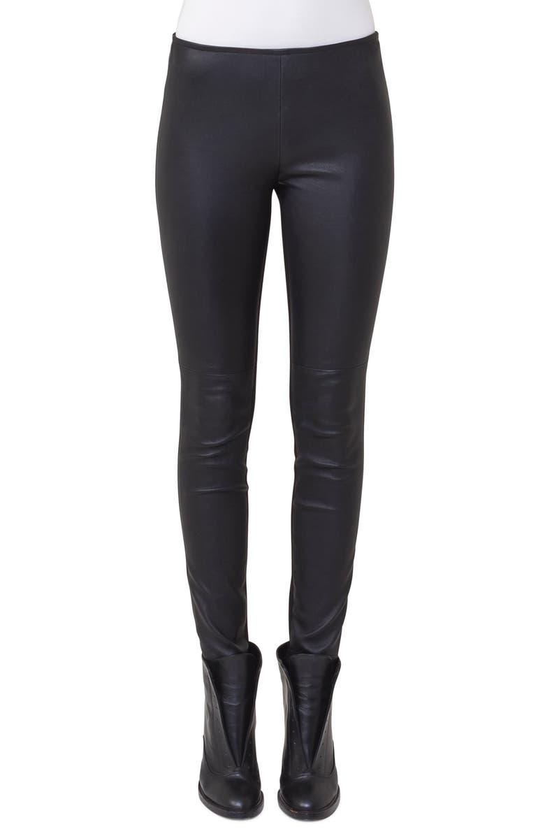 AKRIS PUNTO Lambskin Leather & Jersey Pants, Main, color, BLACK