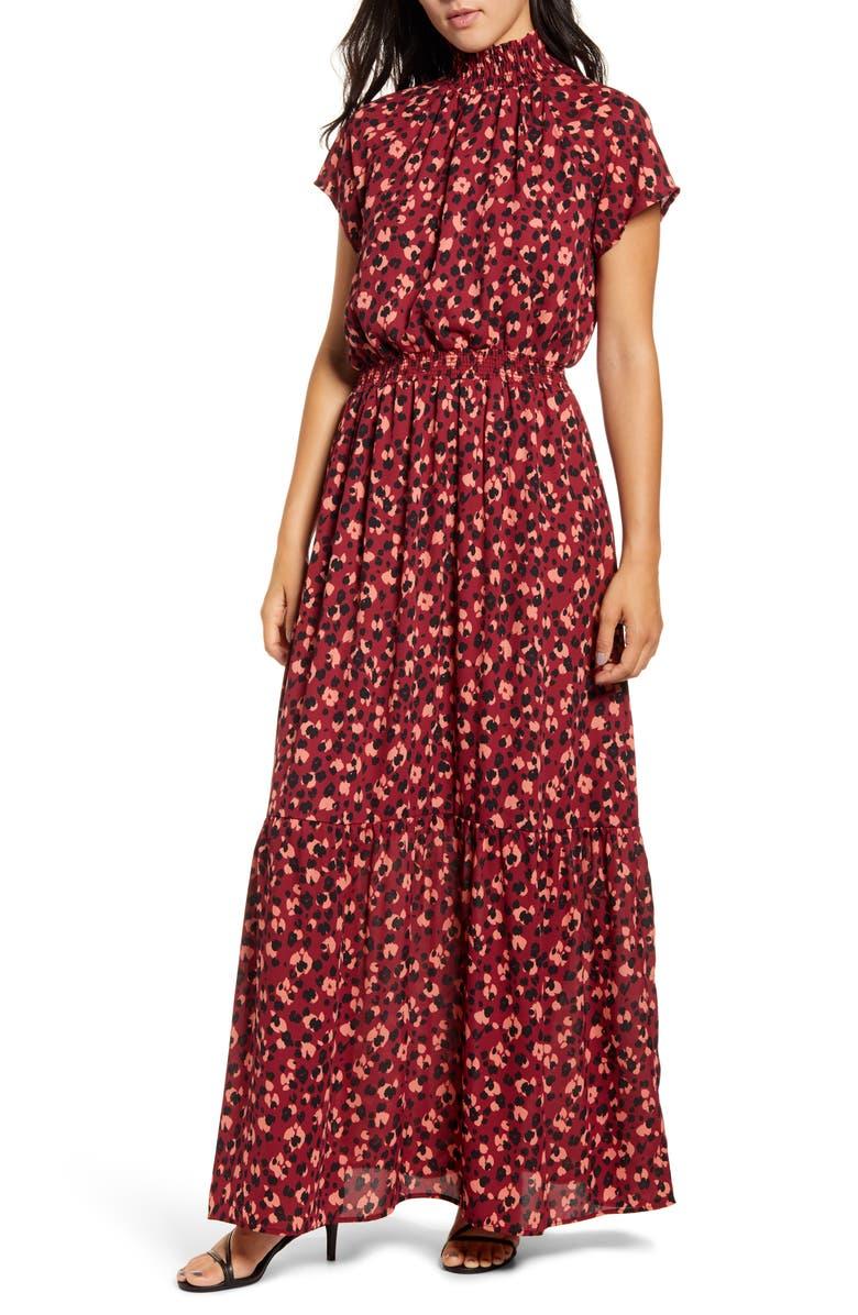 GIBSON x City Safari Jaime Shrayber Smocked Maxi Dress, Main, color, DITSY CHEETAH