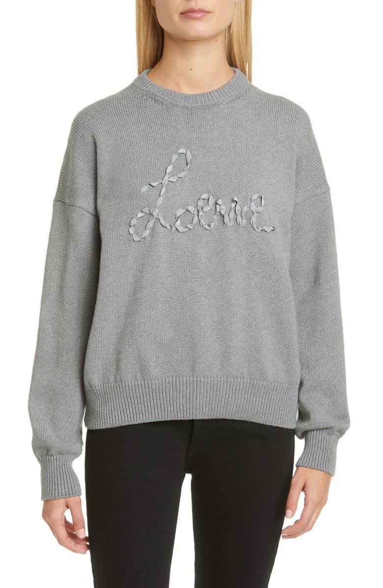 LOEWE Ribbon Logo Cotton Sweater, Main, color, GREY