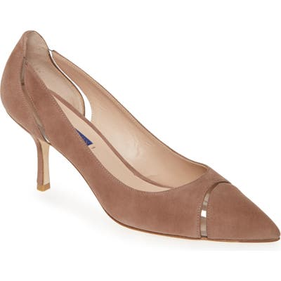 Sturat Weitzman Davia Clear Trim Pointed Toe Pump- Brown