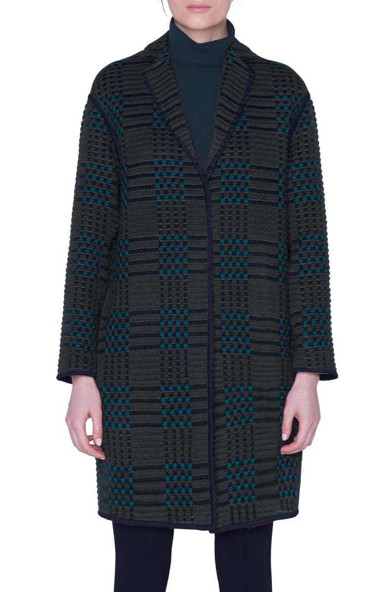 AKRIS St. Gallen Embroidered Plaid Coat, Main, color, PINE-NAVY
