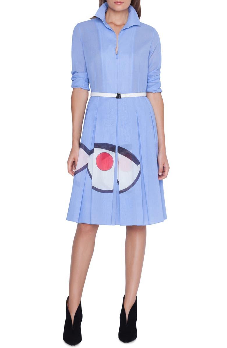 AKRIS Wink Print Cotton Voile Dress, Main, color, 500