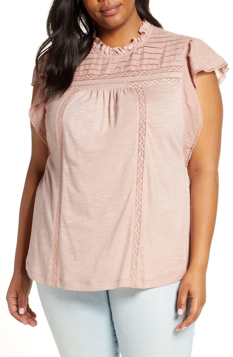 CASLON<SUP>®</SUP> Pintuck Lace Detail Flutter Sleeve Cotton Blouse, Main, color, PINK ADOBE