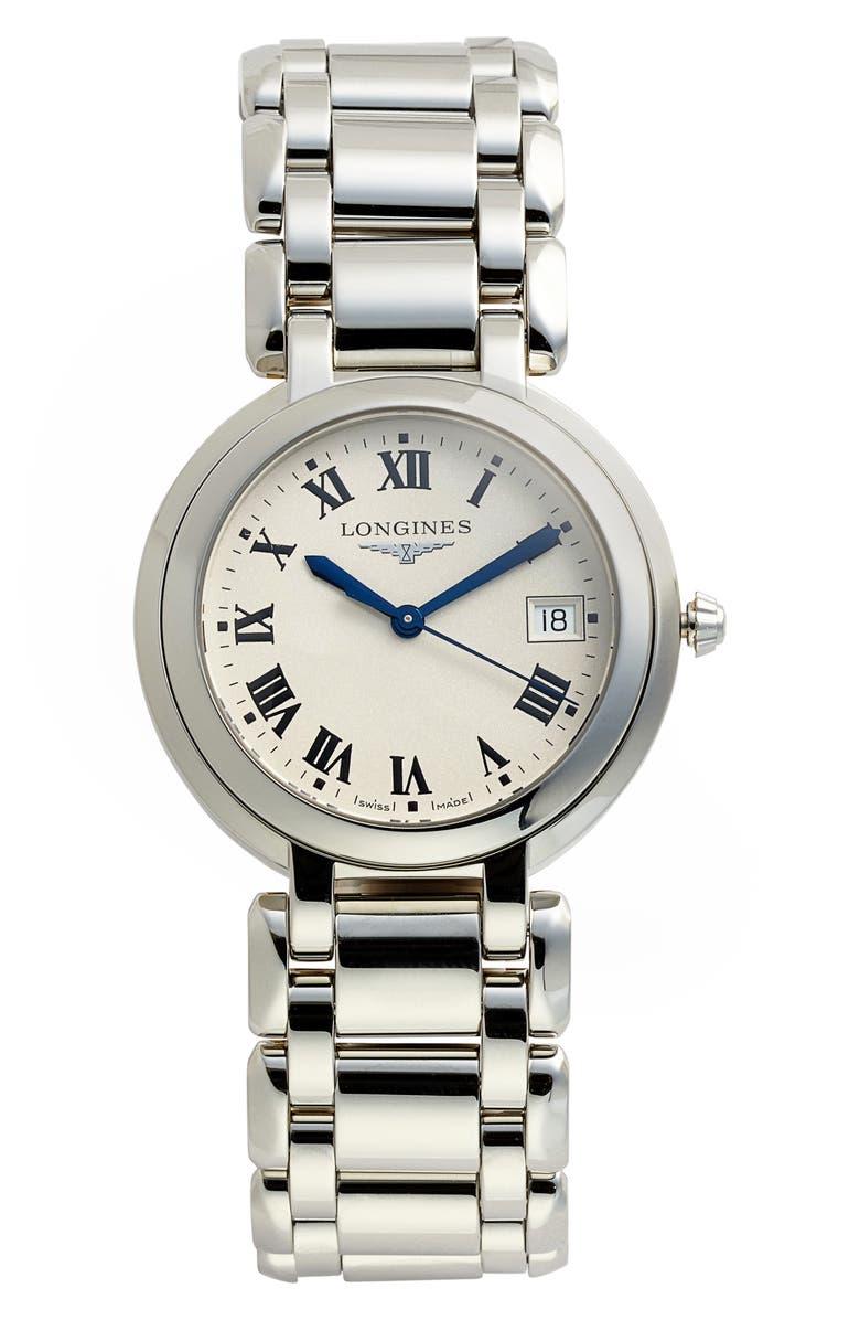 LONGINES PrimaLuna Bracelet Watch, 34mm, Main, color, SILVER/ WHITE/ SILVER