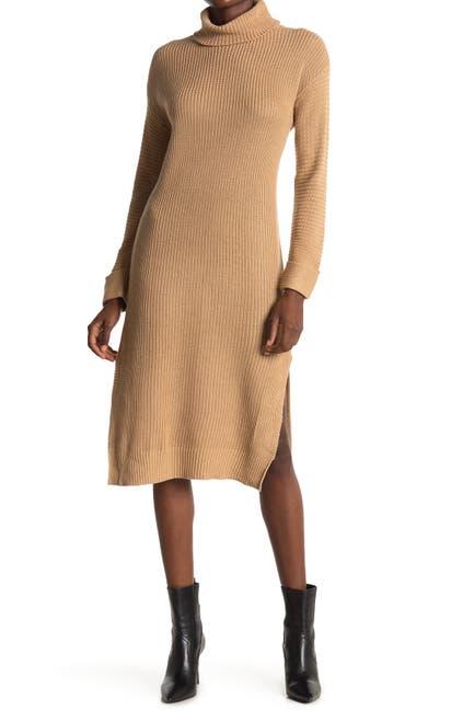 Image of STITCHDROP Turtle Rib Knit High Slit Dress