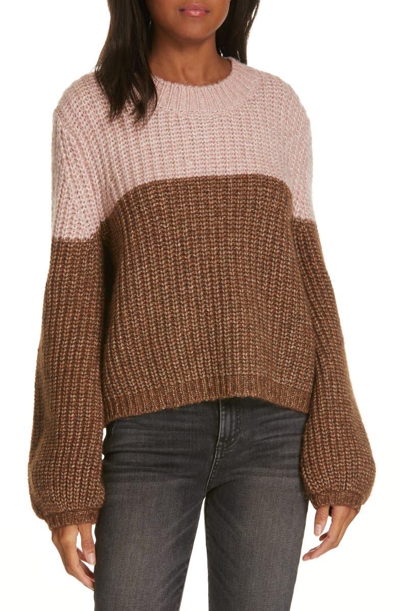 LA LIGNE Two-Tone Sweater, Main, color, LIGHT BROWN/ PINK