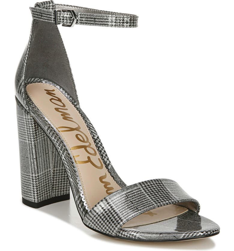 SAM EDELMAN Yaro Ankle Strap Sandal, Main, color, PEWTER MULTI FAUX LEATHER