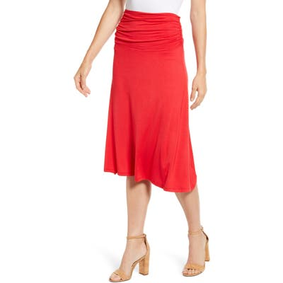 Bobeau Andie Convertible Knit Skirt, Red