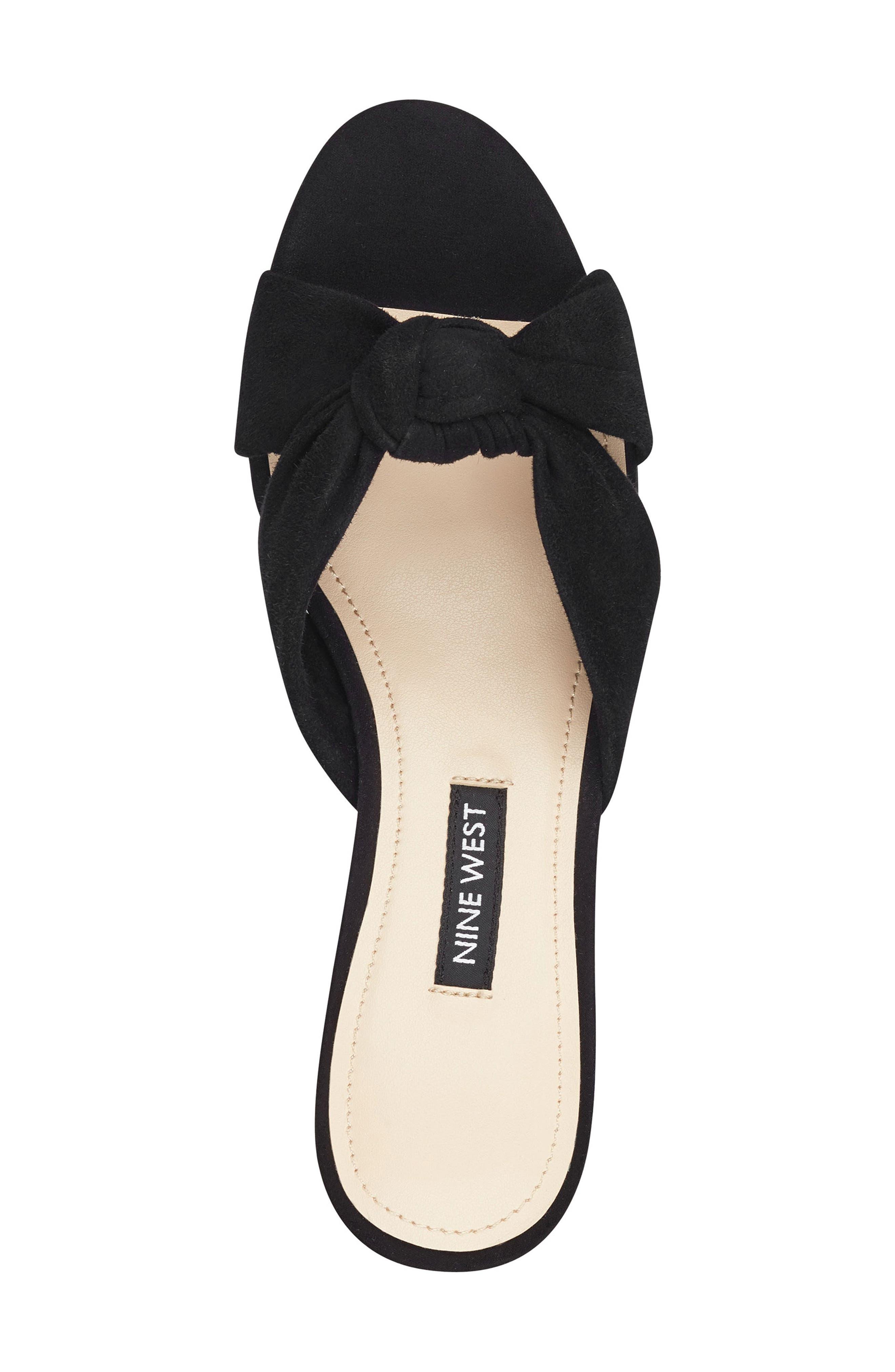 ,                             Kayla Knot Slip-On Sandal,                             Alternate thumbnail 4, color,                             BLACK SUEDE