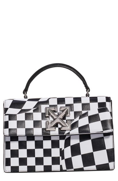 Off-White Bags JITNEY 1.4 CHECK LEATHER SATCHEL - BLACK