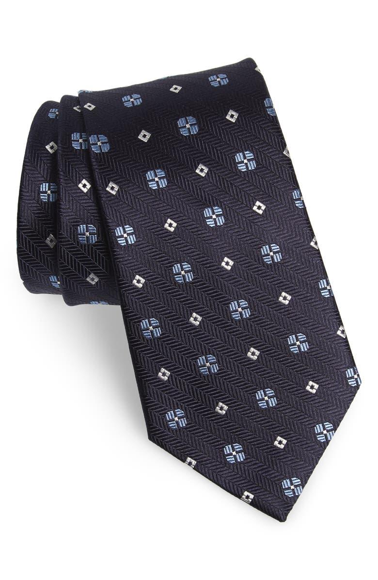 ERMENEGILDO ZEGNA Medallion Silk Tie, Main, color, NAVY
