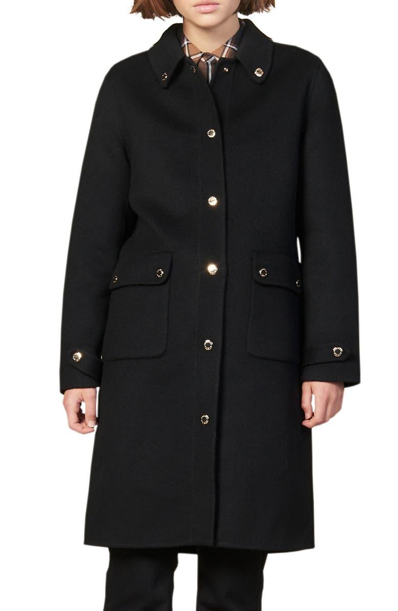 SANDRO Dameen Wool Blend Coat, Main, color, BLACK