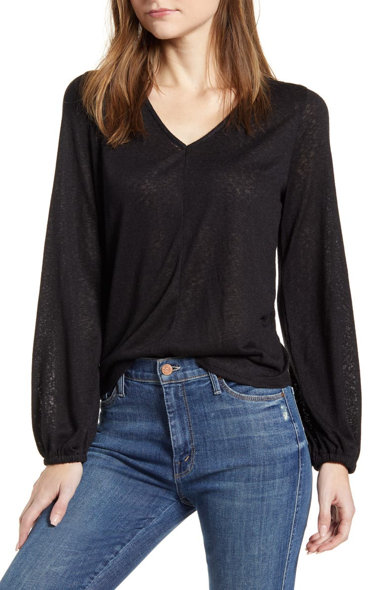 BOBEAU V-Neck Shirred Back Long Sleeve Top, Main, color, BLACK