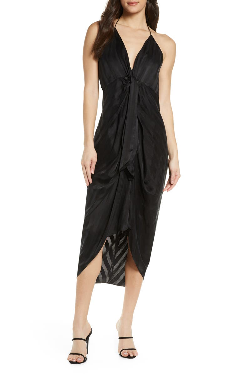 SIGNIFICANT OTHER Daphne High/Low Halter Dress, Main, color, BLACK