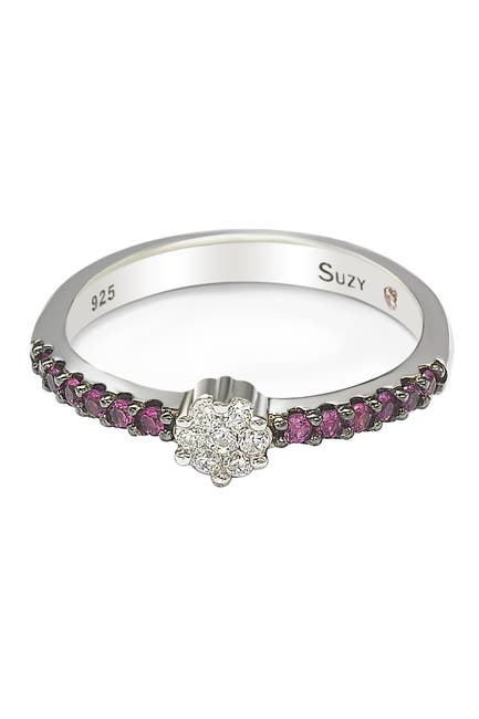 Image of Suzy Levian Sterling Silver Prong Set CZ Cluster & Pave Purple CZ Band Ring