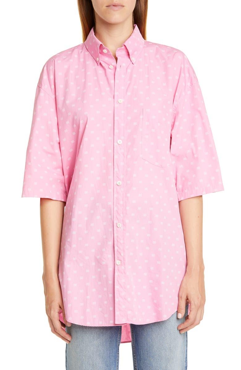 BALENCIAGA BB Logo Print Oversize Cotton Poplin Shirt, Main, color, 682