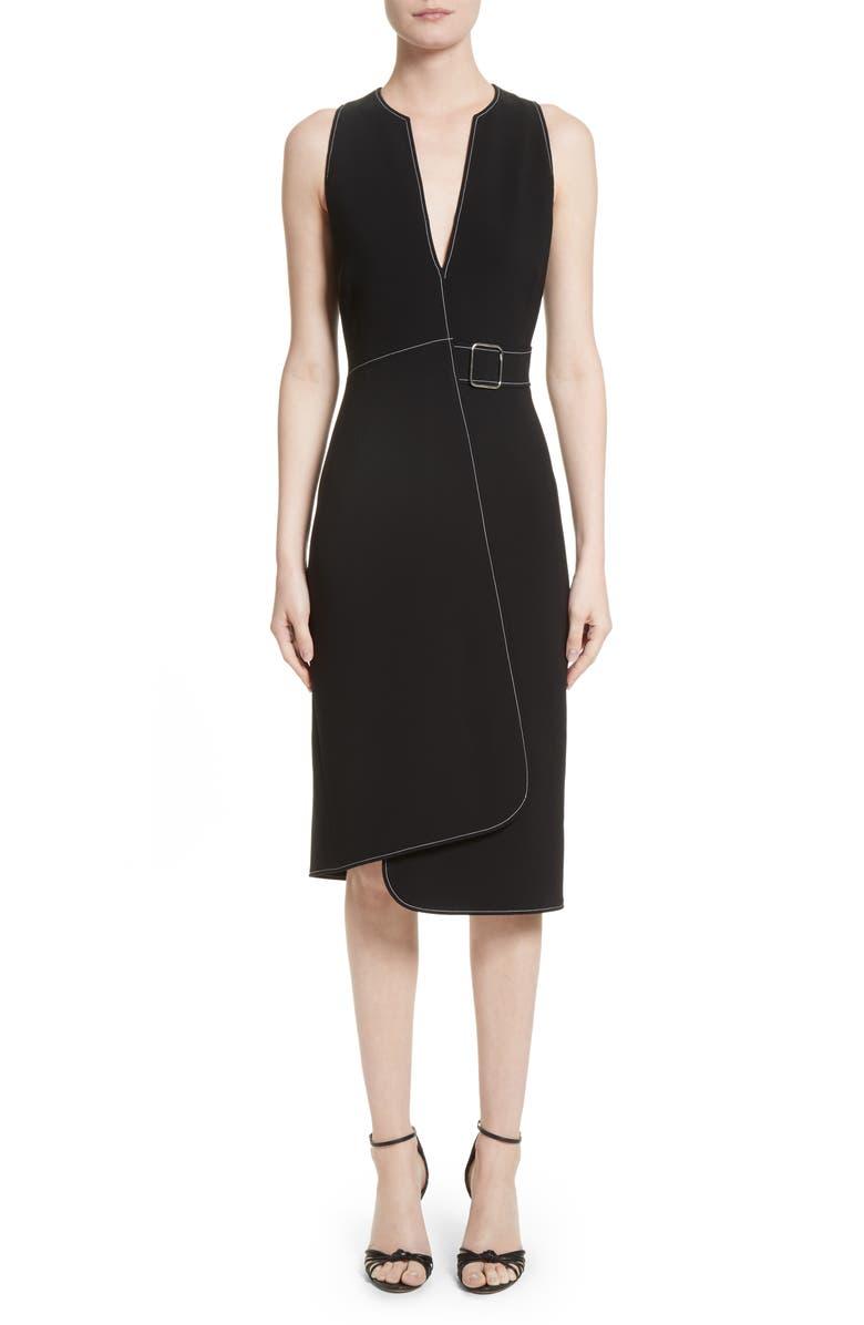 ALTUZARRA Asymmetrical Belted Dress, Main, color, 001