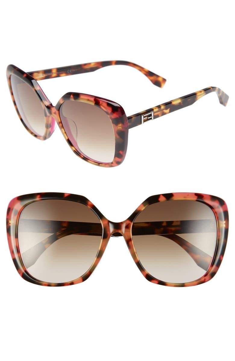 FENDI 56mm Retro Sunglasses, Main, color, 200