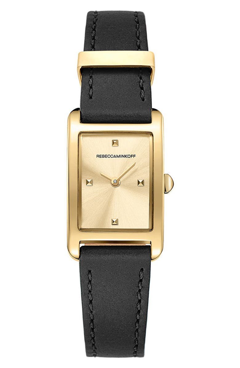 REBECCA MINKOFF Moment Leather Strap Watch, 19mm x 30mm, Main, color, 001