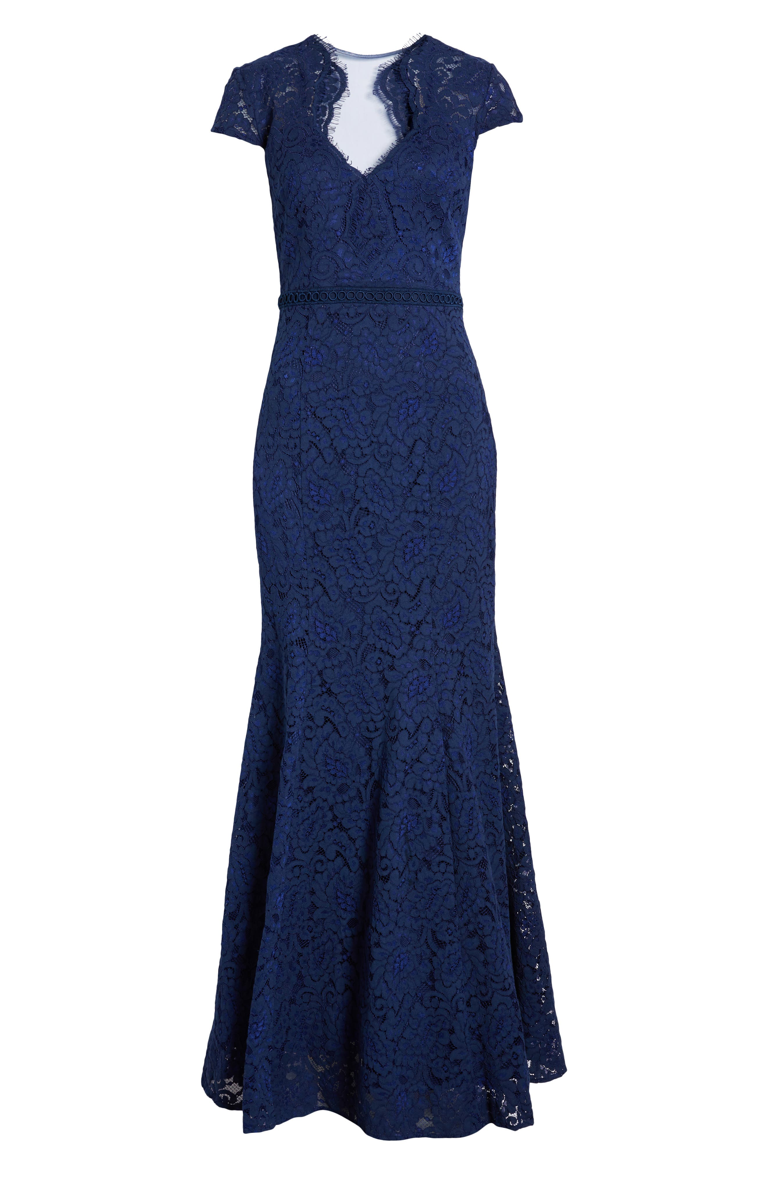 ,                             Lace Mermaid Gown,                             Alternate thumbnail 6, color,                             NAVY