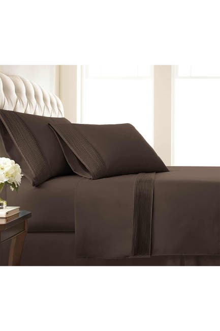 Image of SOUTHSHORE FINE LINENS Queen Sized Premium Collection Double Brushed Extra Deep Pocket Pleated Sheet Set - Chocolate Brown