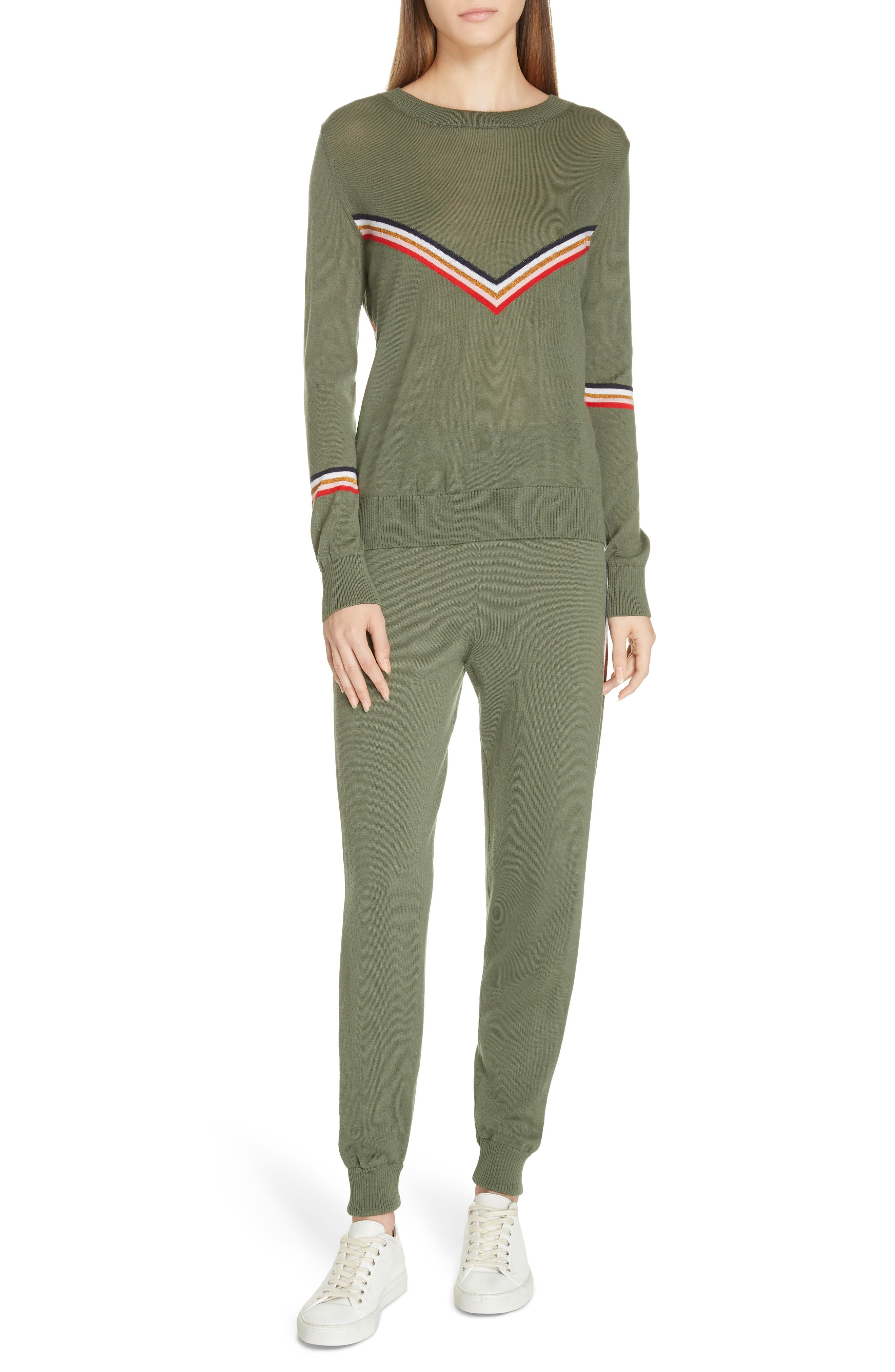 ,                             Chevron Stripe Sweater,                             Alternate thumbnail 7, color,                             KHAKI