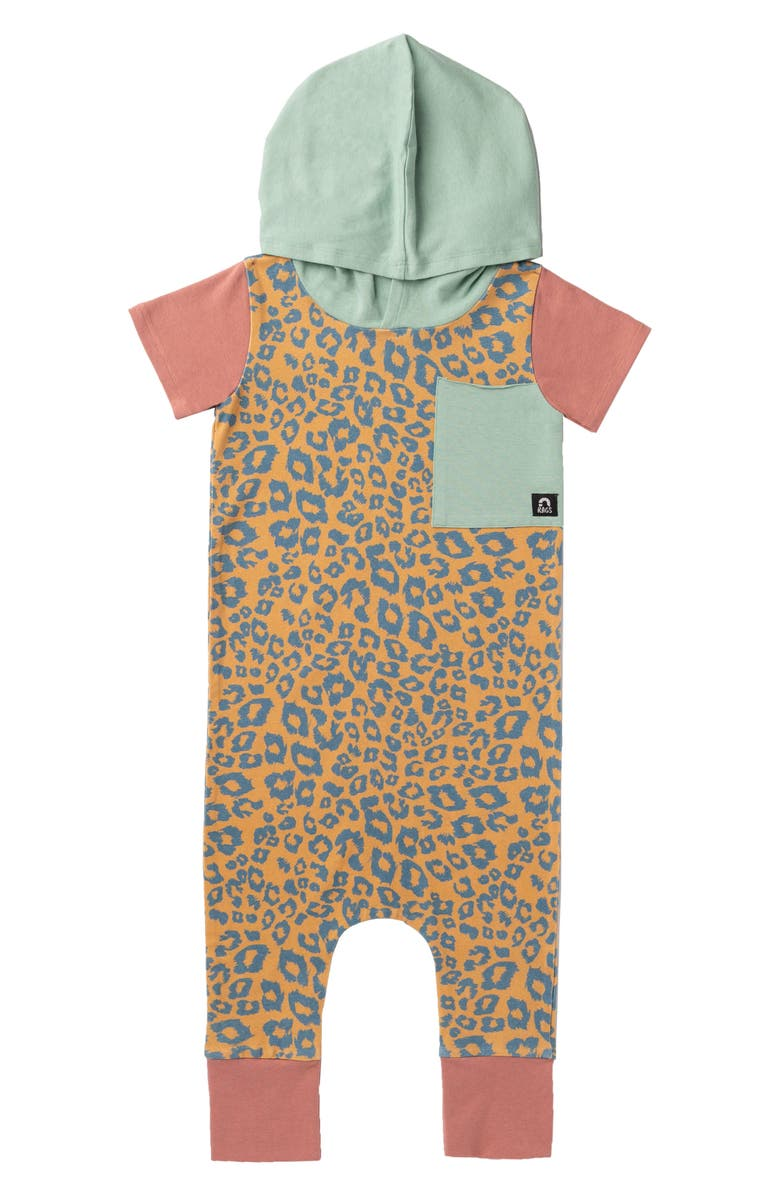 RAGS Leopard Hooded Romper, Main, color, GOLD/ BLUE LEOPARD