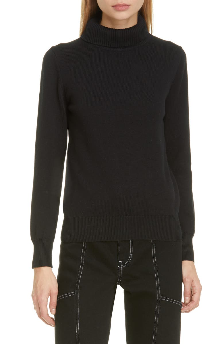 SIMON MILLER Doria Rib Cotton Blend Turtleneck Sweater, Main, color, BLACK 90303
