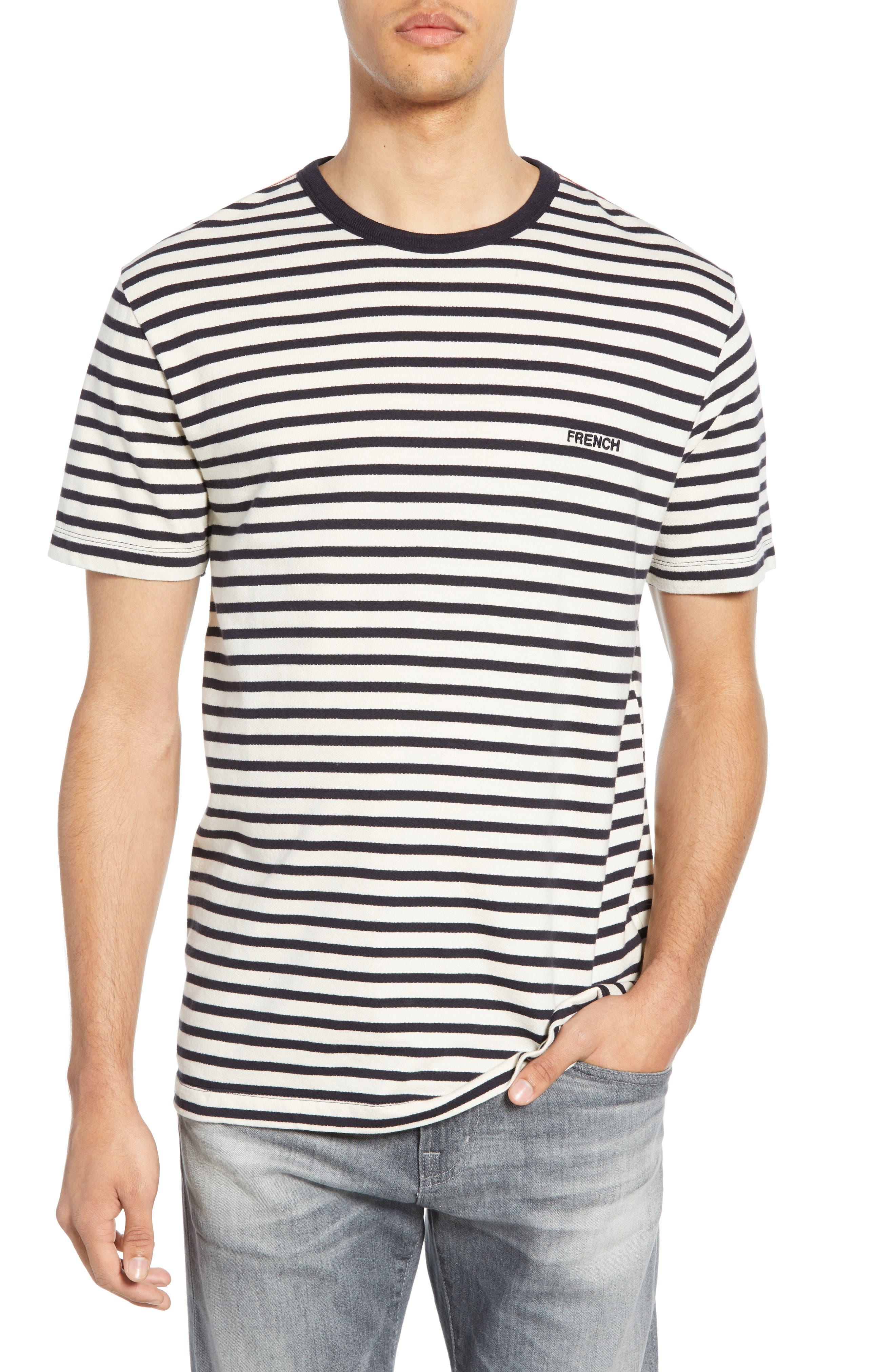 French Connection Breton Stripe Ringer Neck T-Shirt, Blue