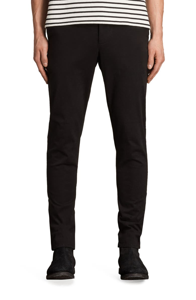 ALLSAINTS Park Skinny Fit Chino Pants, Main, color, BLACK