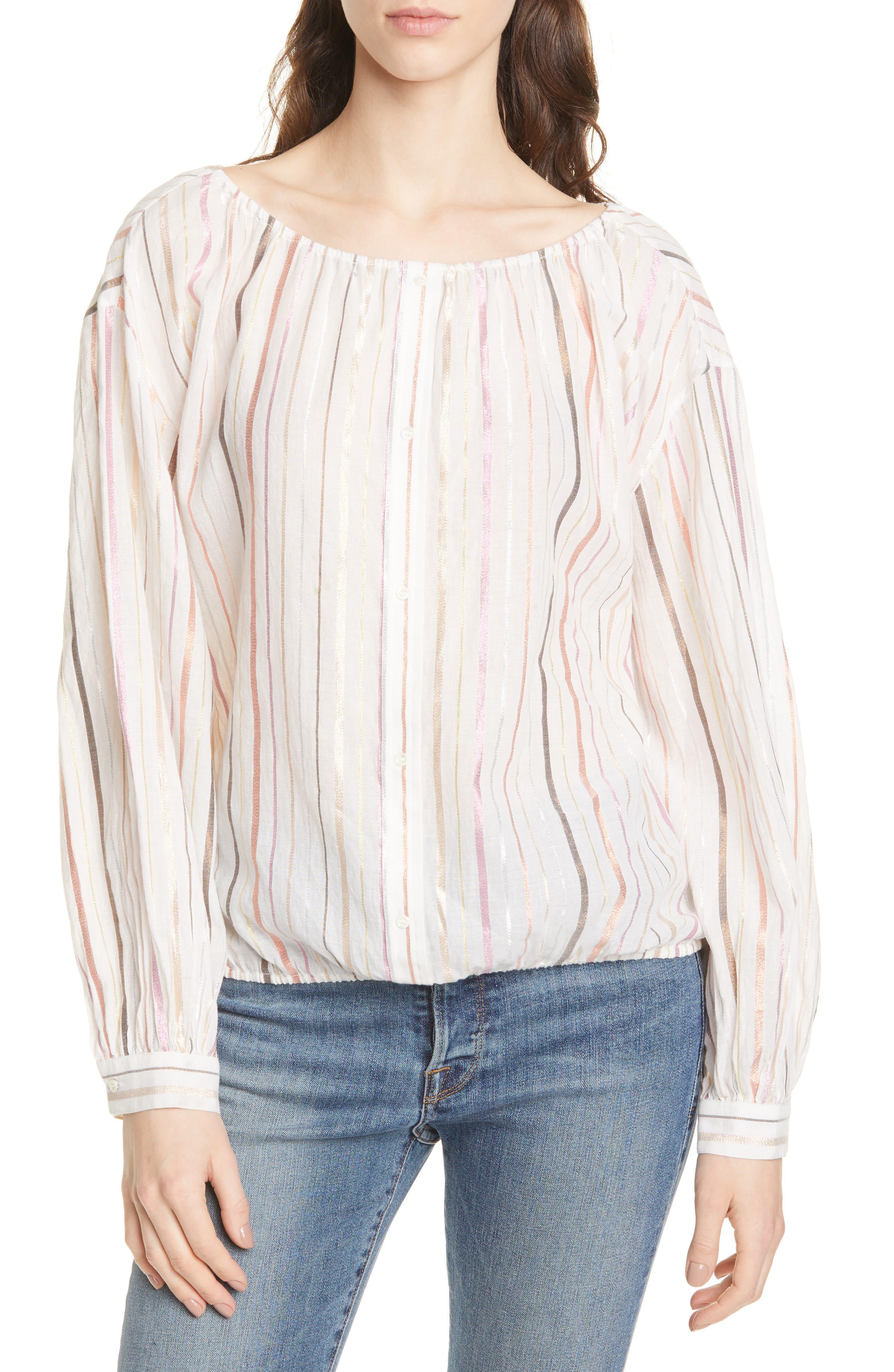 ,                             Satomi Shimmer Stripe Blouse,                             Main thumbnail 1, color,                             PORCELAIN