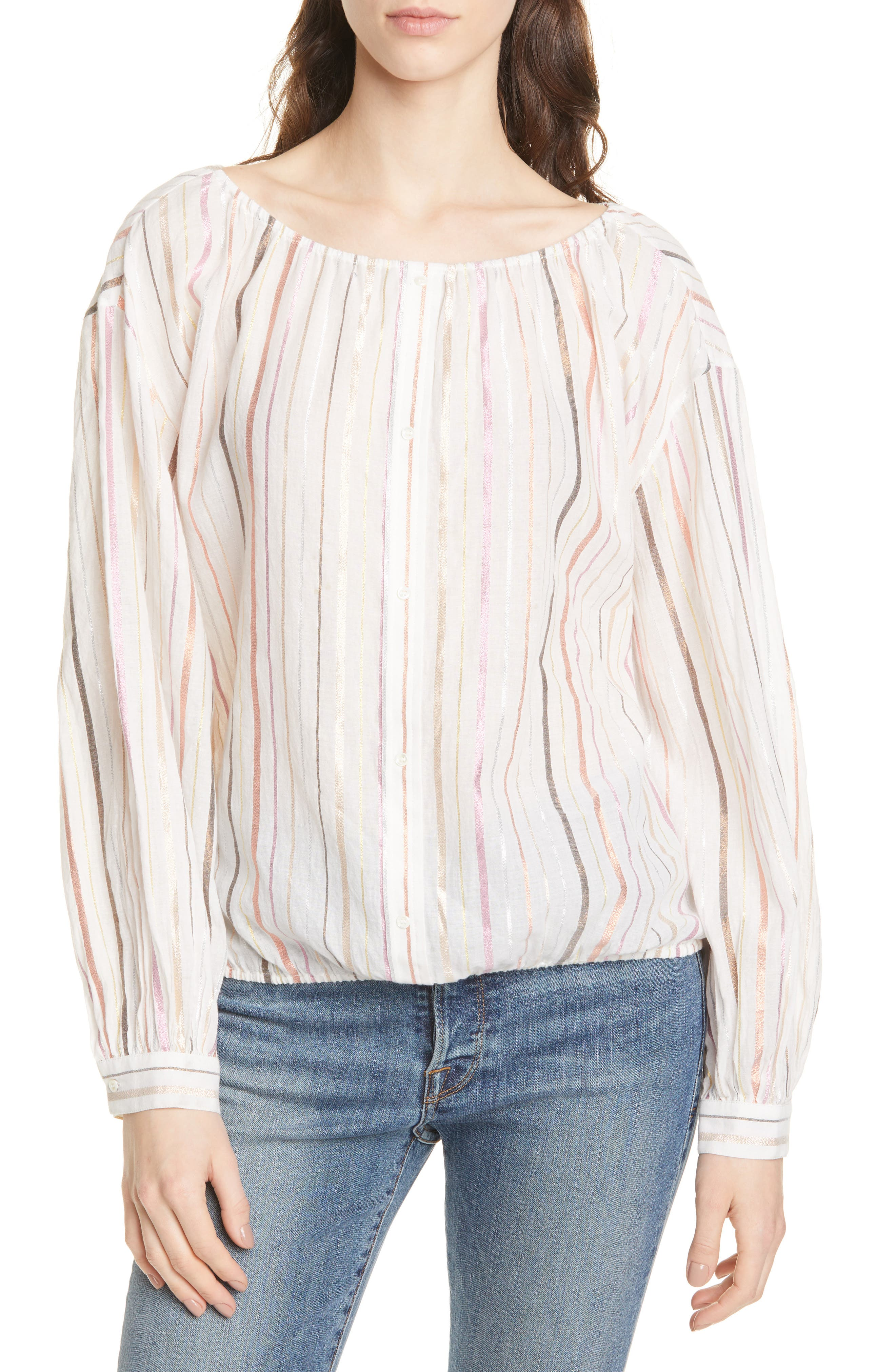 Satomi Shimmer Stripe Blouse, Main, color, PORCELAIN