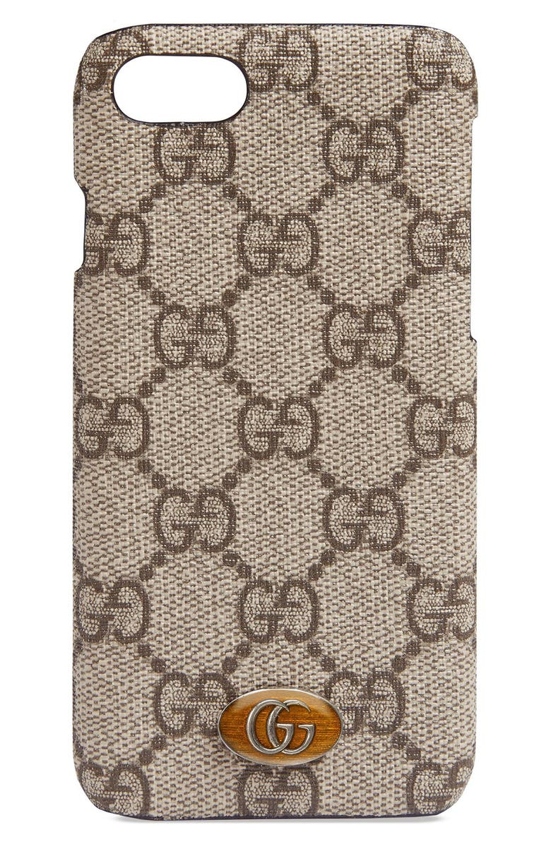 GUCCI Ophidia iPhone 8 Case, Main, color, BEIGE EBONY/ LIGHT BROWN