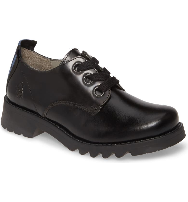 FLY LONDON Ruda Lugged Derby, Main, color, BLACK LEATHER