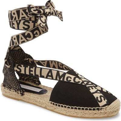 Stella Mccartney Gaia Logo Ankle Wrap Espadrille Flat, Black